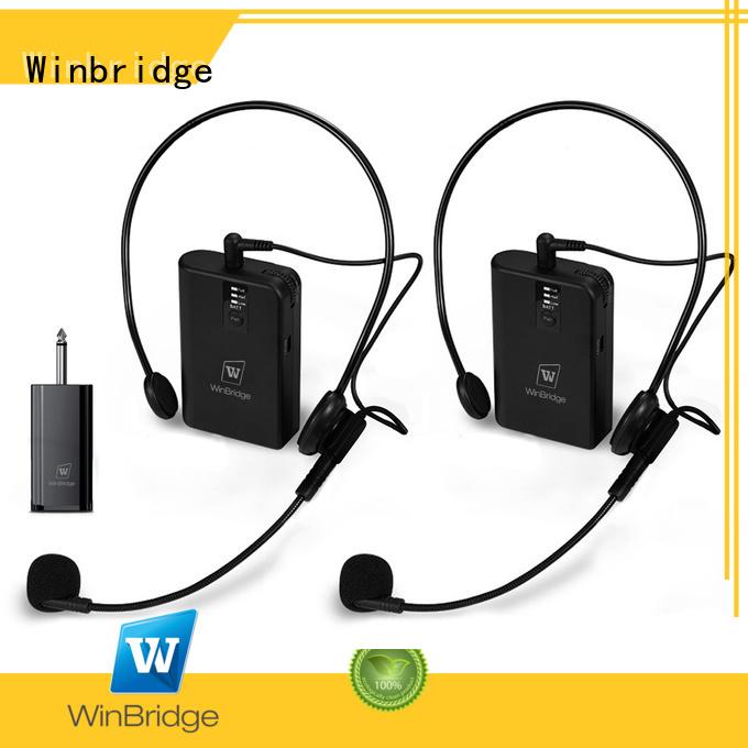 lapel wireless microphone decent range Winbridge company